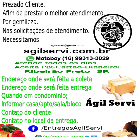 Serviços de entregas rápidas em ribeirão Preto.